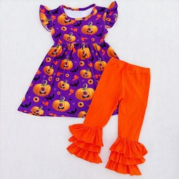 2018 Girls Halloween Boutique Outfits Toddler's Pumpkin Pattern Milksilk Pearl Top With Ruffle Cotton Solid Pants Girls Smocked