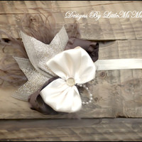 "Ivory Headband, Ivory Hair bow , Gold baby headband ""Autumn Sunshine"" Feather Headband For Girls"