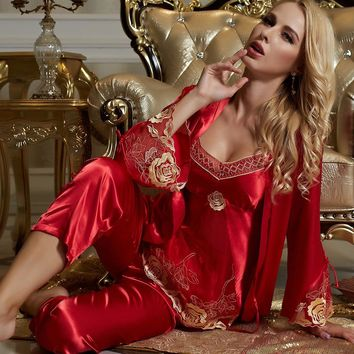 Three-Piece Red Pajama Sets Women Sexy V-Neck Sleepwear Imitation Silk