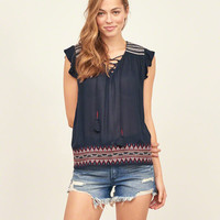 Lace Up Peasant Tunic