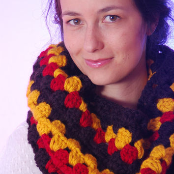 Crocheted cowl scarf, multicolored merino wool scarf, autumn winter cowl scarf, women scarf, crocheted  infinity scarf.