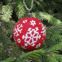 Traditional Christrmas ball decoretion red white  snowflake holiday gift uique xma christmas in july house warming gift freindship ball