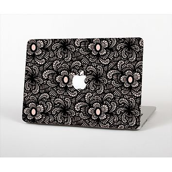 The Black Floral Lace Skin Set for the Apple MacBook Pro 13""