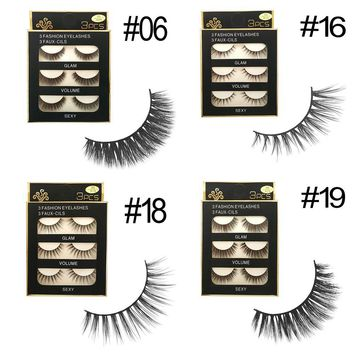 3 Pairs 3D Charming 100% Real Mink Hair Thick/Wispy/Sparse/Wing False Eyelashes Cross Natural Long Beauty Makeup Extension Tools