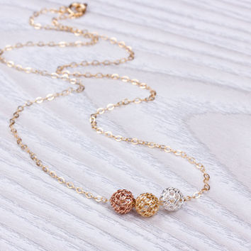 """Gold Knot necklace, Layered necklace, Mixed Metal Necklace, Bridesmaid necklace, Silver Knot necklace, Rose gold Knot necklace, """"Lupa"""""""