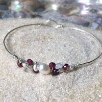 Garnet, Pearl, Rainbow Moonstone and Thai Silver Beaded Bangle Bracelet - Hammered Sterling Silver - Handmade Wire Wrapped Gemstone Jewelry