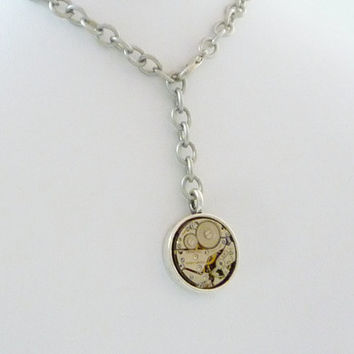 Industrial SteamPunk Simple Round Vintage Watch Movement Necklace with Heavy Antique Silver Finish Chain by VictorianFolly