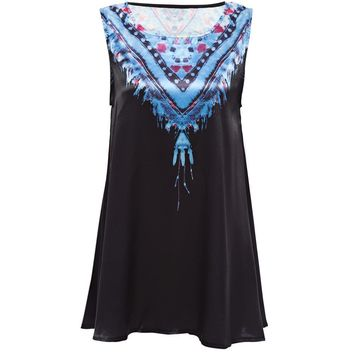 Retro Style Round Collar Sleeveless A-Line Tribal Print Tank Top for Women