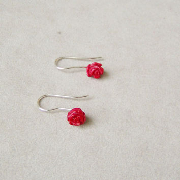 Red coral earrings,  rose shaped  sterling  silver , small dangle  earrings