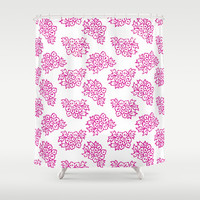 Indian Flowers in White and Pink Shower Curtain by Talii