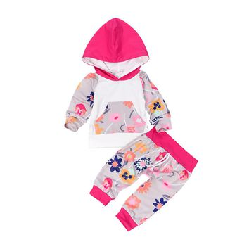 Floral Baby Girl Clothes 2pcs Set Long Sleeve Hooded Striped Sweatshirt Top Flower Pant Clothing Set