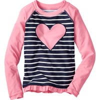 Lily Pink & Navy Stripe Heart Rash Guard - Infant, Toddler & Girls