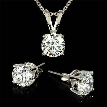 2-Piece Set: 3 Carat Total Weight CZ Necklace & Earrings