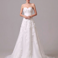 Strapless Flowers Embroidered Tulle Wedding Gown