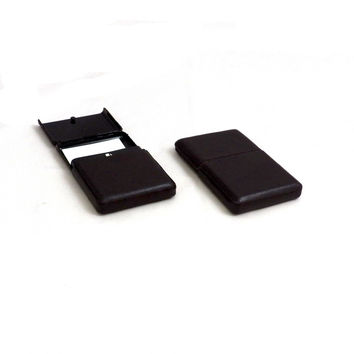 Business Card Case w/ Flip Top, Brown Leather, T.P.