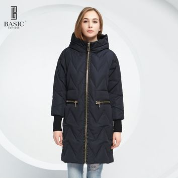 Basic Vogue Women Winter Quilted Long Parka Wide Waist Down Coat Jacket with Hood - Y16028