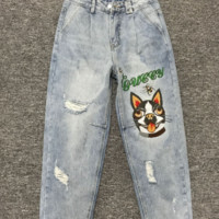 Gucci fashion, waist, slim, embroidered dog, hole pants, jeans, Haren, trousers.