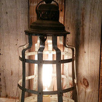 Shabby chic metal lamp nightstand desk lantern rustic home decor primitive farmhouse style photo prop Edison bulb lighting light vintage