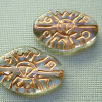 VIntage lucite Beads gold carved etched German beads unusual tribal symbols (2)