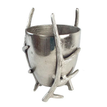 Antique Silver Cast Aluminum Ice Bucket with Antlers