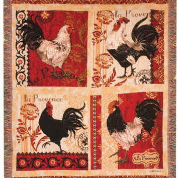 French Roosters Throw Blanket - Made In The Usa