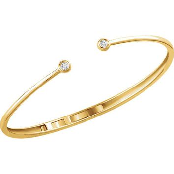 Diamond Hinged Cuff Bracelet - 14k