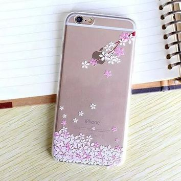 Hollow Out Beautiful Cherry Blossoms TPU iPhone 5se 5s 6 6s Plus Case Cover + Nice Gift Box 368-170928