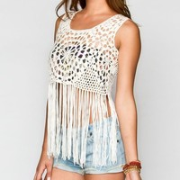 FULL TILT Sweater Knit Womens Fringe Tank