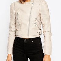 ASOS Cropped Biker Jacket with Side Belt