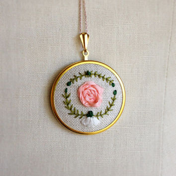 Silk Ribbon Embroidery Necklace Light Pink Rose Flower Pin Brooch or Pendant