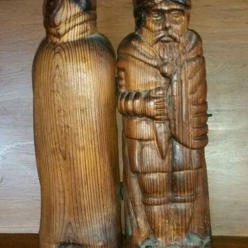 Hand Carved Wooden  Man Liquor Box