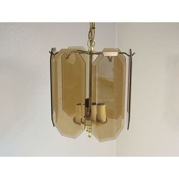Designer Hanging Ceiling Lamp Chandelier Bright Brass Contemporary Vintage -- Used