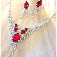 Wedding jewelry set ,bridesmaid jewelry set, Bridal necklace earrings, vintage inspired rhinestone jewelry set, Red crystal jewelry se