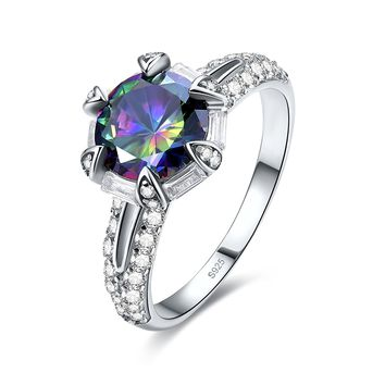 Merthus Unique 3ct Mystic Rainbow Topaz Solitaire Engagement Ring 925 Sterling Silver