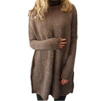 New Arrival Sexy Turtle Neck Pullovers Women's Long Warm Sweater Slim Tunic Shirt Tops 4 Colors Plus Size LX092