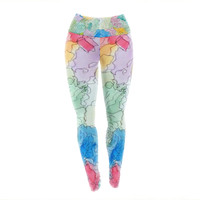 """Cathy Rodgers """"Floral Pathway"""" Blue Green Yoga Leggings"""