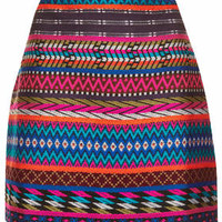 Patterned Blanket Aline Skirt - Multi