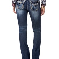 Miss Me-Mid Rise Embellished Pixie Boot Cut Jeans