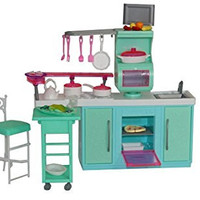 Barbie-Size Dollhouse Furniture- Cooking Corner Kitchen Set by Huaheng Toys