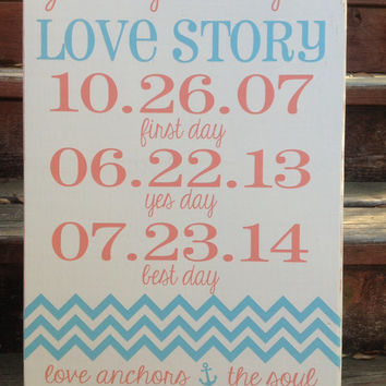 Personalized Wedding - Love Story Important Date Sign, Chevron, Love Anchors the Soul, Anniversary Castle Inn Designs