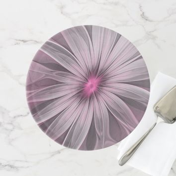 Pink Flower Waiting For A Bee Abstract Fractal Art Cake Stand