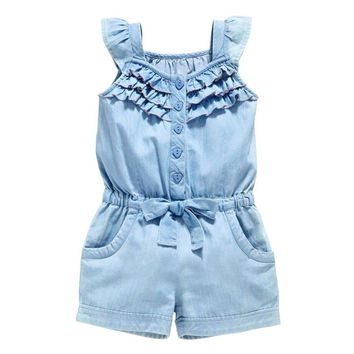 Pro Kids Girls Clothing Rompers Denim Blue Cotton Washed Jeans Sleeveless Bow Jumpsuit 0-5Years LE2 J4U66