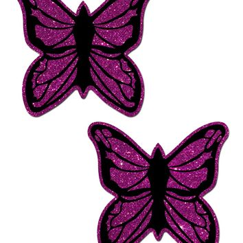 Glitter Fuschia & Black Butterfly Nipple Pasties Stripper Wear