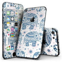 Ethnic Navy Seamless Aztec Elephant - 4-Piece Skin Kit for the iPhone 7 or 7 Plus