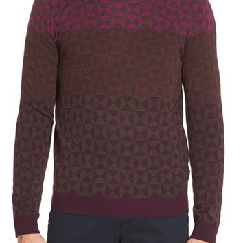 Men's Ted Baker London 'Zano' Geo Print Crewneck Sweater,