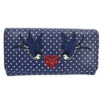 Two Swallow & Heart Polka Dot embroidery Bi-fold Wallet