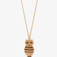 Etched Owl Pendant Necklace | FOREVER 21 - 1041030217
