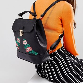 Liquorish Floral Embroidered Backpack at asos.com