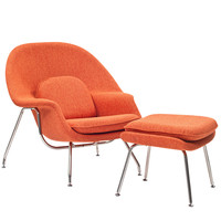 Eero Saarinen Style Womb Lounge Chair and Ottoman in Orange Tweed