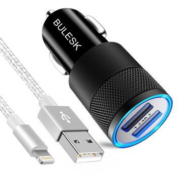BULESK iPhone Car Charger, 24W/4.8A Rapid Dual Port USB Car Charger Adapter With 3FT 8pin USB Cable Charging Cord for Apple iPhone X 8 7 Plus 6S 6 SE 5S 5, iPad, iPod (Silver Gray)